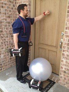 trainer knocking on door