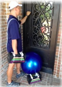 "personal trainer knocking on door of home in Highland Village"" vspace="