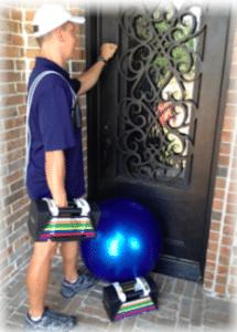 "personal trainer knocking on door of home in Benbrook"" vspace="